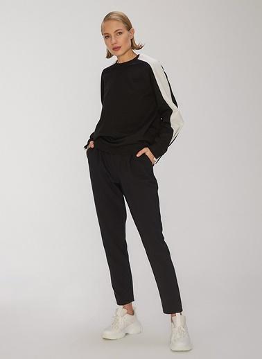 People By Fabrika Kontrast Detaylı Sweatshirt Siyah